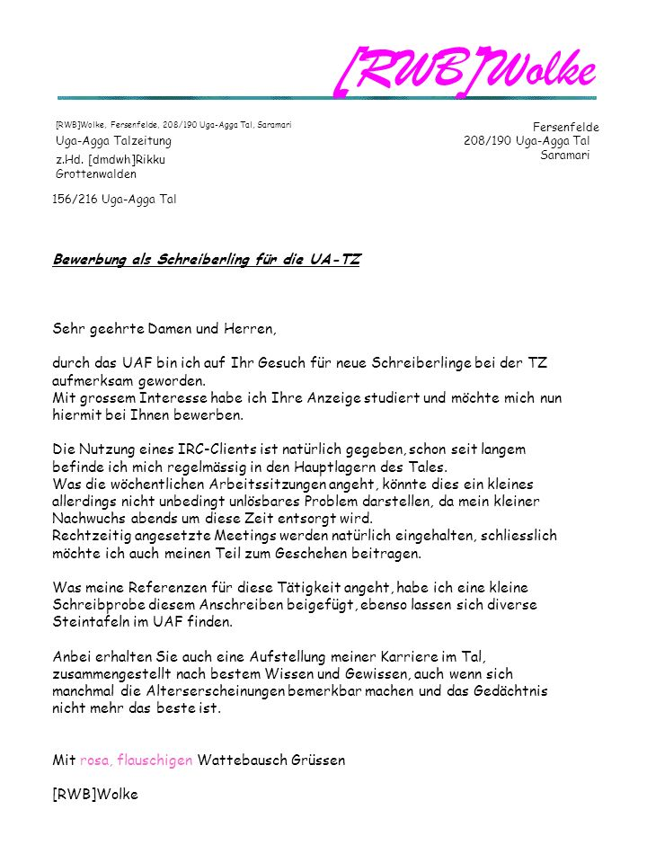 [RWB]Wolke Bewerbung als Schreiberling für die UA-TZ